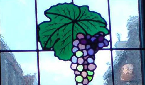 Glas in lood raam druif