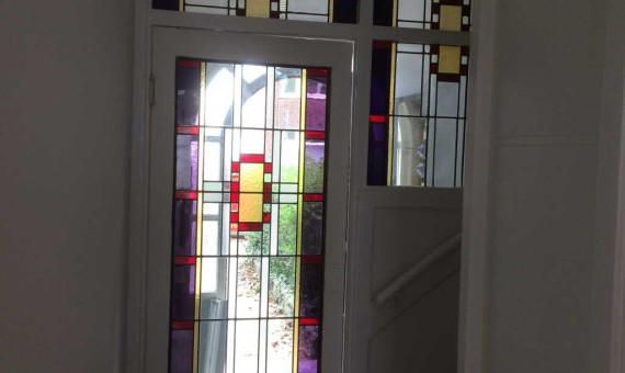 Glas in lood in vestibule deur