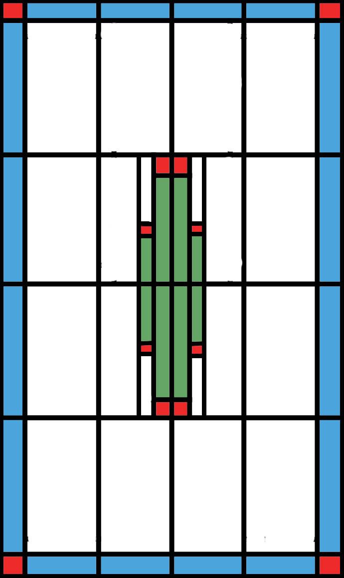 tussen deur voorzien van glas in lood