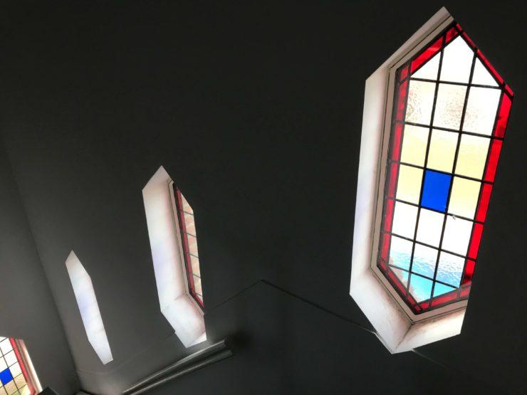 Glas in lood tussen isolatie glas met ontspiegelde ruit.